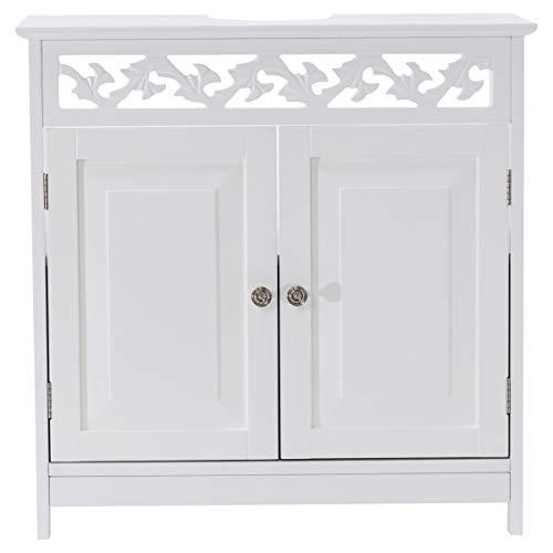 Miavilla Waschbeckenunterschrank Romance Badezimmer Landhaus-Stil MDF weiß 60 x 30 x 60 cm
