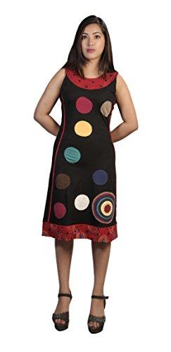 La robe de coton sans manches femmes cercle coloré patch de conception Black