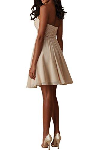 Promgirl House Damen Suess Chiffon A-Linie Herz-Ausschnitt Kurz Cocktail Partykleider Brautjungkleid Abendkleider Ballkleider Kurz Grau