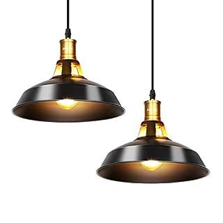 Albrillo 2er Pack Industrielle Vintage Pendelleuchte Retro Hängeleuchte Ducrhmesser 27cm für E27 Leuchtmittel, Schwarz Eisen Lampenschirm und Ideal für Esszimmer, Wohnzimmer, Restaurant