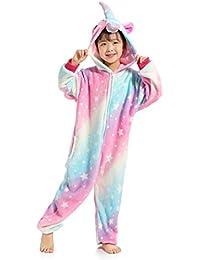Auspicious beginning Niños Acogedor Lindo Unicornio Siamés de Manga Larga cálido Pijama con Capucha