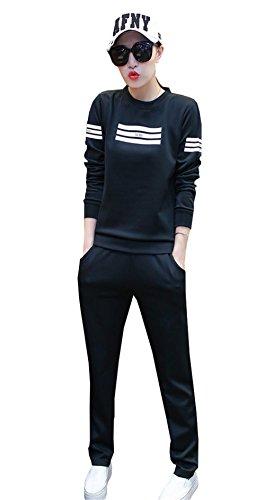 COCO clothing Autunno Tute da Ginnastica Donna Felpe Elegante Casual Larghe Allenamento Sweatshirt a Manica Lunga Felpa e Pantaloni Nero