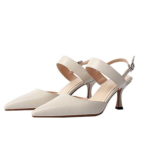 EARIAL& Make Foot Thin Ladies Strap Pointed Toe Sandals Women Leather Summer High Heels Shoes Nude 38