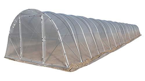 Invernadero de 15 metros de largo, tipo túnel, con puerta delantera y trasera
