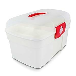 Grinscard Medizinkoffer Tragbar mit Einlegefach – 27 x 18 x 17 cm – Medizinbox Medikamente Aufbewahrung und Transport