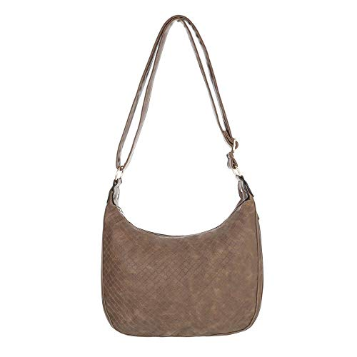 Ital-Design Damen-Tasche Mittelgroße Schultertasche Handtasche In Used Optik Kunstleder Hellbraun TA-S2504