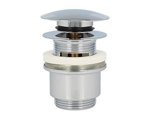 Ablaufgarnitur mit Push-Druckfunktion für Waschtische mit Überlauf - messing-verchromt ()