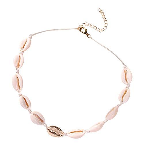 Floweworld Muschel Halskette Anweisung verstellbare Muschel Anhänger Schnur Bib Kragen Halskette Hawaiian Schmuck