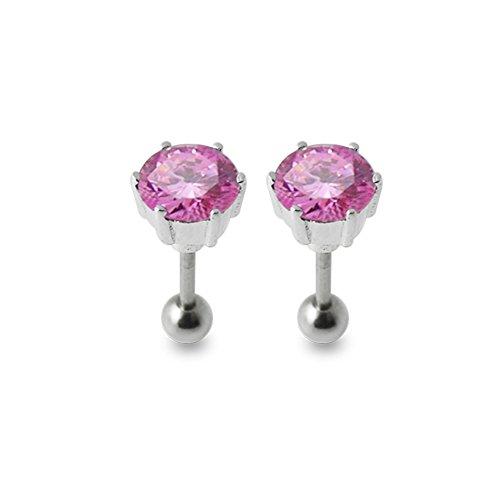 Bijou Piercing oreille Pierre ronde fantaisie argent sterling 925 avec Barbell acier chirurgical 316L et boule 4mm. Vendu par paire. Pink