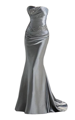Babyonlinedress Vestido plata de gala estilo ajustado para fiesta de noche vestido con chatones artificiales sin mangas cintura alta talla 42