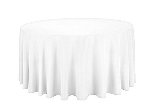 ronde Coton Nappe Polyester Coque pour mariage, salle à manger et fête d'anniversaire de 274,3cm par Mariage d'alimentation, Tissu, Lot de 10, Blanc