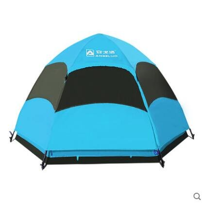 Zelt Outdoor Automatische 3–4Personen Camping Camping Ausrüstung, doppelt Sechskant Zelten, blau (Pop-up-camper-ausrüstung)