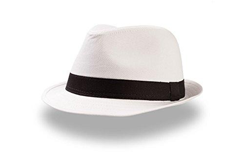 POP-5 - Trilby Hut Popstar Fedora Damenhut Herrenhut Bogart Hip Hop schwarz weiß L/XL (ca. 58/59 cm Kopfumfang),Weiß