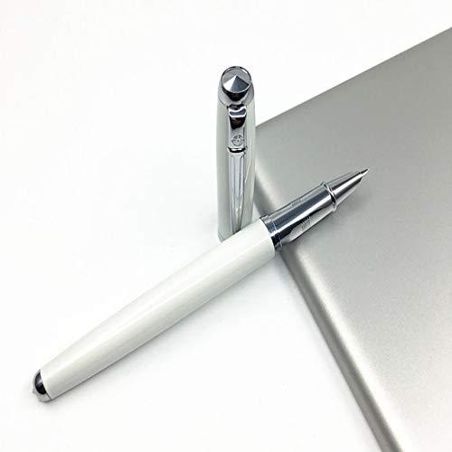 Mit Kapuze Feder 0,38 mm Metall Füllfederhalter Extra Fine Nib Financial Ink Pens mit Original Geschenkbox School Office SuppliesWeiß -