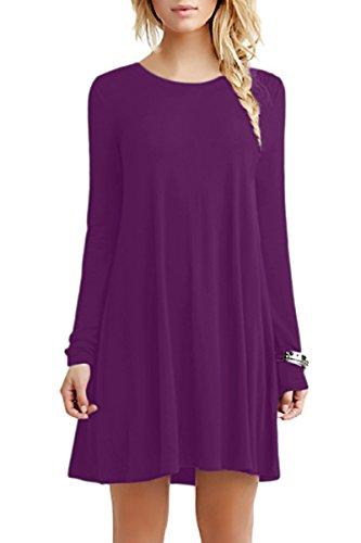 YMING Damen Kleid für Frühling Herbst Casual Blusenkeid Lose Langarm Tunika Plus Größe,Dunkel Violett,XXXL