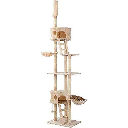Pure Love ® Kratzbaum XXL Sisal Robuster Kletterbaum Katzennapf mit großem Spielplatz Höhe 240-270 cm (Beige)