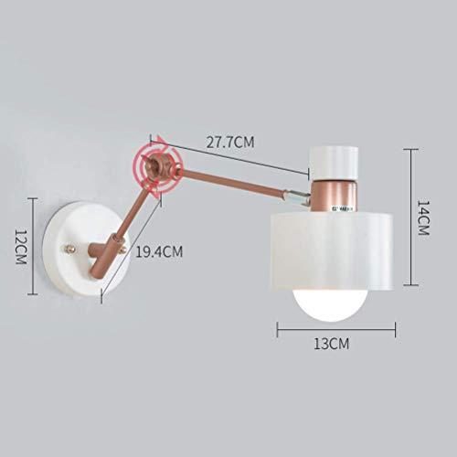 YLCJ Moderne Leseleuchte Wandleuchte Kreative Schwinge Verstellbare Wandleuchte Nachttischlampe mit Metallschirm im Inneren Leselampe für Schlafzimmer Wohnzimmer Arbeitszimmer, Rot - Roten Bett Ensemble