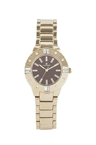 D'SIGNER GOLD PLATED STAINLESS STEEL BROWN DIAL WATCH WITH STONE STUDDED CASE image