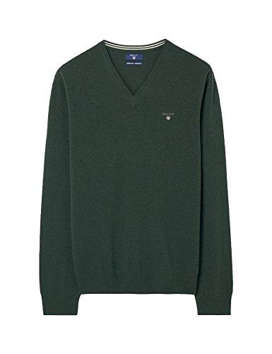 GANT Herren Pullover Super Fine Lambswool V-neck DARK GREEN (verdone)
