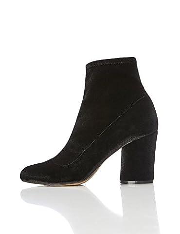 FIND Damen Stiefel mit Blockabsatz, Schwarz, 40 EU