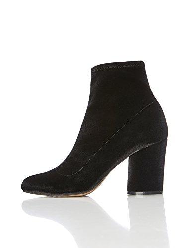 FIND Damen Stiefel mit Blockabsatz, Schwarz, 38 EU (Block-heel-schuhe)