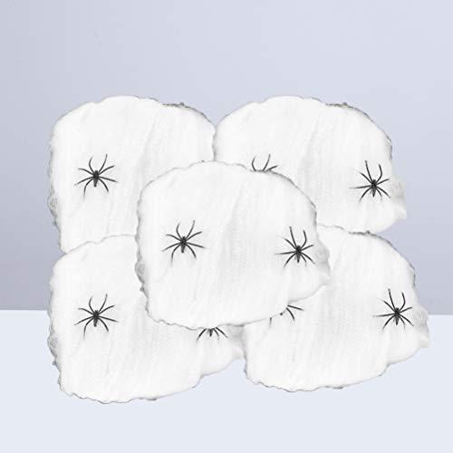 NUOBESTY 5 Packs Spinnennetz Dekoration Dehnbar Spinnennetz Zubehör Halloween (mit 2 Spinnen) (Show Tv Halloween Prop)