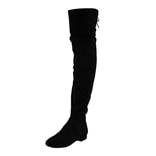 Womens Ladies Thigh High Over The Knee Low Heel Flat Lace Up Boots Shoes Size 3-8