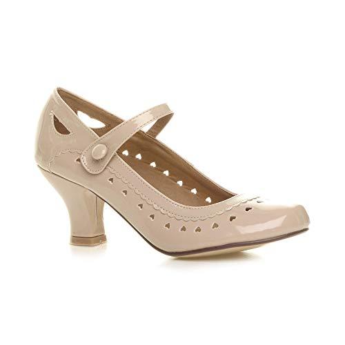 Damen Herzmuster Mary Jane Mittlerer Absatz Feinmachen Pumps Schuhe Größe 39 6
