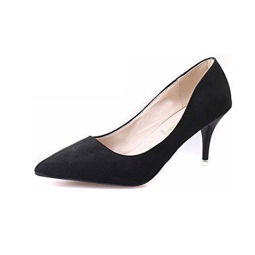Chaussures à talon aiguille confortables pour femme Suède Bout pointu Noir - noir