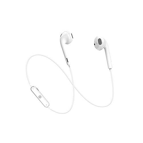 Xiton Auricular Bluetooth Auricular inalámbrico con micrófono Deportiva, Impermeable estéreo HD Anti-Sudor tapón Funcionamiento de la Gimnasia Auricular Ruido Ejercicio (Blanco)