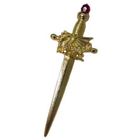 David Hinwood Golden Welsh Dragon Pewter Sword Kilt Pin Red Stone - Made In UK
