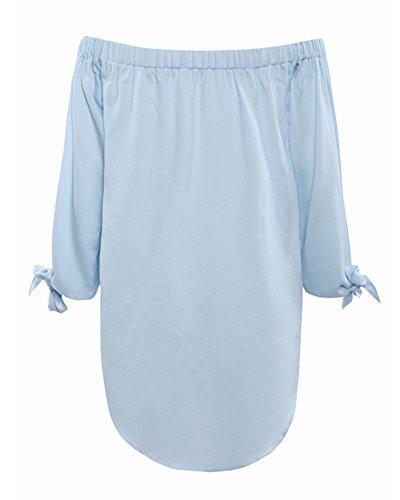 SaiDeng Damen Lange Ärmel Schulterfrei Wort Schulter Casual Denim Kleid Hellblau