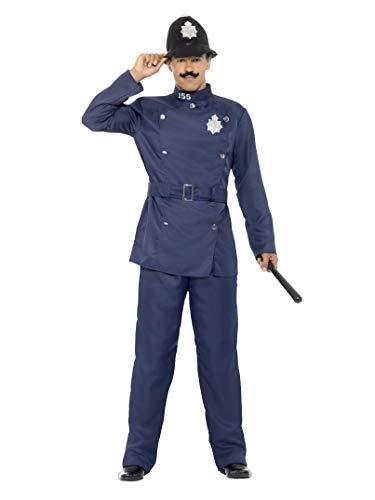 Smiffys Herren London Bobby Kostüm, Hose, Jacke, Gürtel und Hut, Größe: L, - Engel Kostüm London