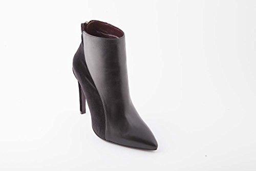 WO Milano tronchetto in pelle e velluto a punta tacco 10 nero donna (39 - nero)