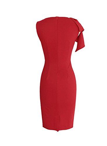 Sparkling YXB Damen Kurzarm Celeb Stil Damen Etuikleid Business Party Cocktail Pencil Kleid Rot