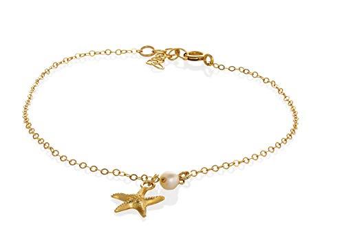 Strand Fußkettchen Seestern Perle Gold Fußkettchen Sommer Fuß Schmuck Fußkettchen für Frauen Länge 21,5 cm / 8,5
