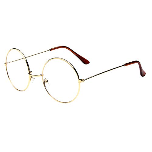 CANDLLY Brille Damen, Mode Oval Runde klare Linse Brille Jahrgang Geek Nerd Retro Style Metal Brillenspiegel flacher Spiegel Gezeitenglasrahmen Brillen Zubehör(Gold,One Size