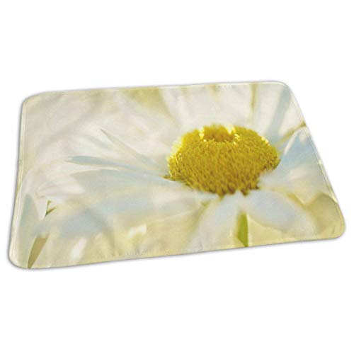 Voxpkrs Changing Pad White Petals Yellow Flower Baby Diaper Urine Pad Mat Special Adults Mattress Sheet Protector Sheet for Any Places for Home Travel Bed Play Stroller Crib Car (Matratzenbezüge Für Bettnässen)