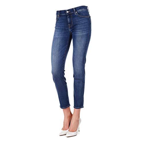 7 For All Mankind Damen MID Rise Roxanne Crop Slim Jeans, Blau Blue EA, W30/L28 (Herstellergröße:30/28) -