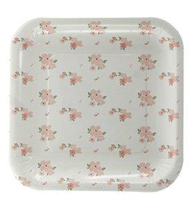 10 Weiße Frühlingshafte Blumen-Papp-Teller - Quadratisch