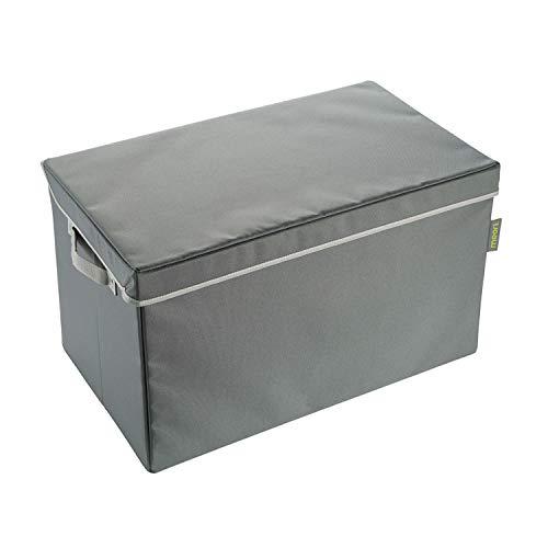 Meori Faltbare Aufbewahrungstruhe Large Granit Grau mit Lining in Candy Mint 60x35x36cm Polyester abwischbar Wäschekorb Kiste Faltbox Klappbox -