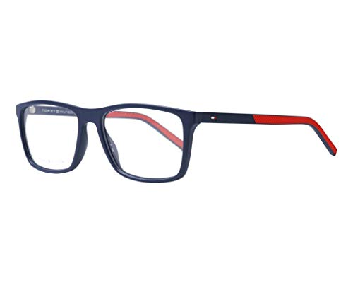 Tommy Hilfiger Brille (TH-1592 FLL) Acetate Kunststoff matt blau - gestreift rot