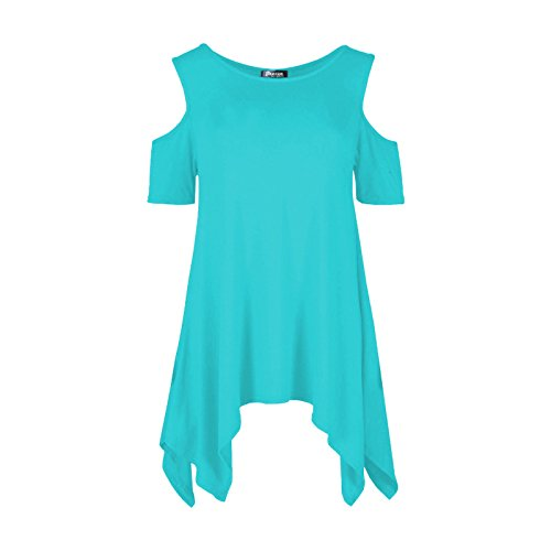 Ladies Jersey Hanky ​​Hem Kalt Schulter Oversized Flared Top EUR Größe 36-54 Minze