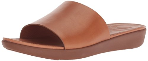 Fitflop SOLA SLIDES - LEATHER Sandalias con punta abierta mujer, Brown (Caramel 098), 38 EU (5 UK)