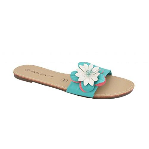 Waooh - Nu Pieds Motif Fleur Hashly Turquoise