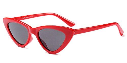 BOZEVON Damen Triangle Sonnenbrille - UV400 Brillen Katzenauge Retro Jahrgang Cat Eye Sonnenbrillen Rot Grau