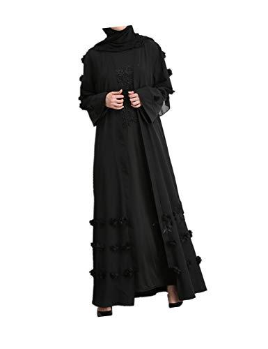 Muslimische Kleider Frauen Casual Strickjacke - Plus Size Robe Maxi Lange Ärmel Abaya Arabische Islamische Kleidung Schwarz ()