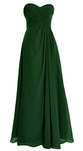 MACloth donne senza spalline abito lungo Chiffon damigella matrimonio partito di sera abito Dark Green 56