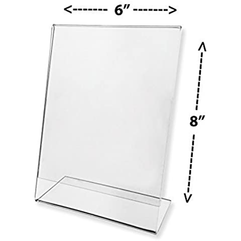 Marketing Holders Sign Holder 6x8 Clear Acrylic Slant Back Counter Top Literature Display Sold in Lots of 20 by Marketing Holders