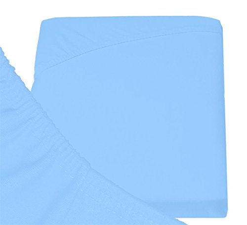 Double Jersey - Spannbettlaken 100% Baumwolle Jersey-Stretch bettlaken, Ultra Weich und Bügelfrei mit bis zu 30cm Stehghöhe, 160x200x30 Himmelblau - 6